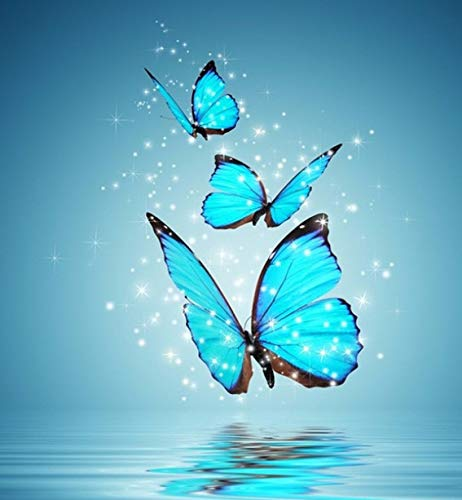 LYDXD DIY Diamant Malerei 5D Blue Butterfly Diamant Stickerei Kreuzstich Kit Strass Malerei Dekor Geschenk 40X50Cm