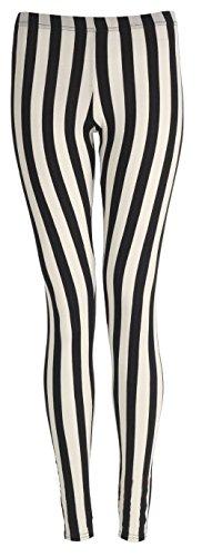 Fashion Valley Damen Leggings, Aztekisch Mehrfarbig Black/White Stripe xl (Leggings Stripe Black)