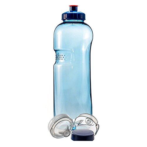 1 L Trinkflasche Wasserflasche aus Tritan (BPA frei) + Trinkdeckel Push-Pull mit Trinknippel + Trinkdeckel Flip Top + Gewindedeckel Blau -