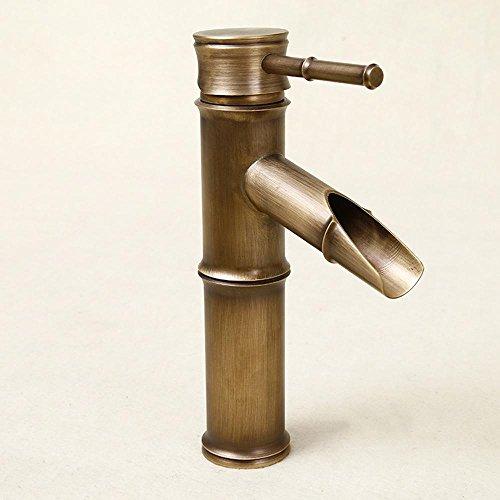 Robinet d'évier de salle de bain avec finition en laiton antique-forme de bambou