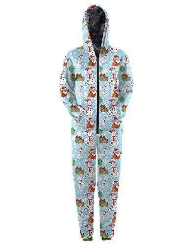 Leapparel Unisex 3D gedruckt Jumpsuit Neuheit XMAS Weihnachten Schneemann Onesie Kostüm Overall Reißverschluss Hoodies