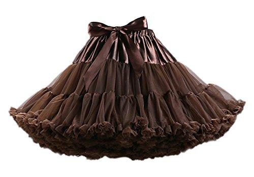 Honeystore Tanzkleid Ballettrock Kinder Mädchen Damen Tutu Rock Schleife Pettiskirt für Show Party Cosplay Braun One Size