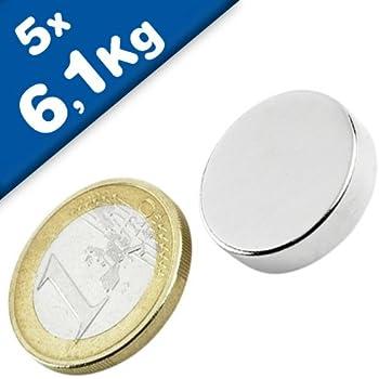 10 Stück Scheibenmagnete  20 x 15 mm Neodym N42 vernickelt Supermagnete