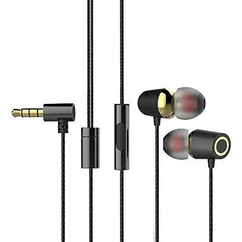 MAXROCK alluminio in-ear con le cuffie con microfono in-line, 3,5 mm jack plug (Nero)