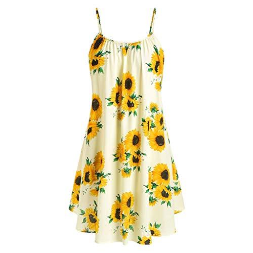 Yvelands Damen Sommerkleider Set Mode Kurzarm Bogen Knoten Verband Top Sunflower Print Minikleid Anzüge(Yellow1,EU-34/S) (Familien Disco Kostüme)