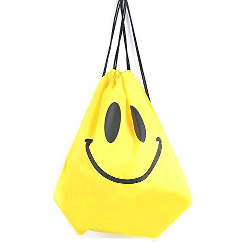 Imagen de deporte saco bolsa cordón  impermeable bolsa natación viaje escuela  para niñas niños adultos, yellow smile face