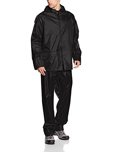 Result Mens Heavyweight Waterproof Jacket & Trouser Set Raincoat, Black, X-Large