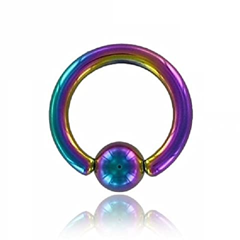 Al Colour Titanium Piercing Ball Closure Ring (BCR Knurled Ring for brustwarzen- Coloured Ear, Nose, Septum, Belly Piercings Can)