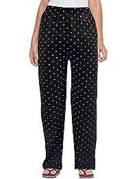 Fflirtygo Women Pyjama Cotton, Night Dress, Lounge Wear, White Polka Dot on Black Pyjama,–Soft Poly-Cotton Night Wear