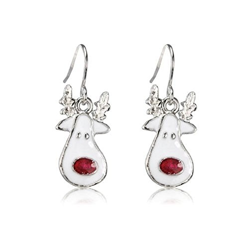 New Rudolph SPARKLY Christmas Earrings - Gift Bag - Rhodium Plated