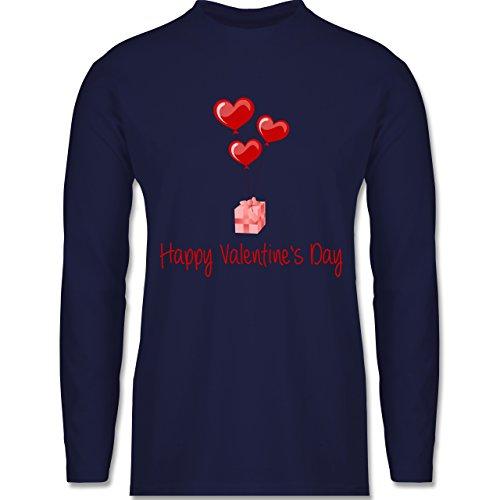 Shirtracer Valentinstag - Happy Valentine's Day Geschenk Herz Luftballon - Herren Langarmshirt Navy Blau