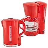 Alaska Frühstücksset 2209 | Schwarz/Rot/Blau/Grün | 2 in 1 | Kaffeemaschine + Wasserkocher | 1,25 l | Tropfstopp | Warmhaltefunktion | Überhitzungs-Trockengehschutz | Abschaltautomatik | 1,7 l (Rot)