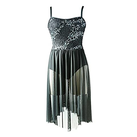NewDance Women's Lyrical Dress Sequin Lace Mesh High Low Skirt Contemporary Ballet Ballroom Dance Costume NT16004,BLACK,LA