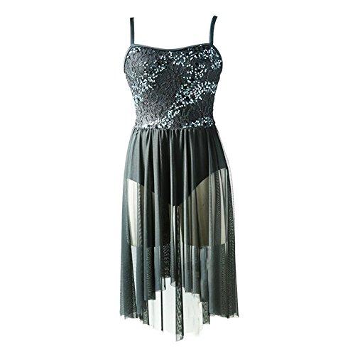 NewDance Women's Lyrical Dress Sequin Lace Mesh High Low Skirt Contemporary Ballet Ballroom Dance Costume NT16004,Black,MA