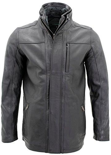 Männer von mittlerer Länge Klassische Warm Braun Lederjacke XS