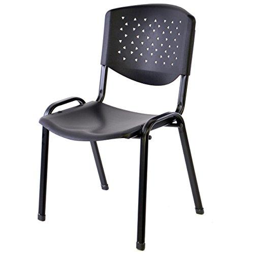 Bürostuhl Konferenzstuhl Besucherstuhl schwarz Sitzfläche stapelbar Kunststoff 53,5 x 56 x 79 cm Stapelstuhl Metallrahmen schwarz stabil