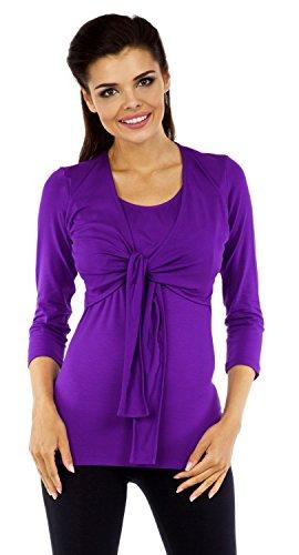 Zeta Ville - Maternité top de grossesse - Tee-shirt d'allaitement - femme - 619c Pourpre