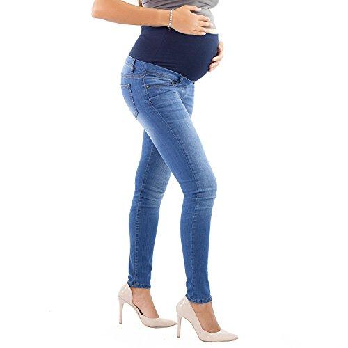 Jeggings premaman, modello skinny, super elasticizzato, jeans riutilizzabile dopo il parto - made in italy (40 it, chiaro)