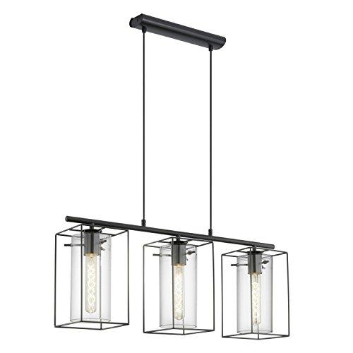 Leuchtstarke Pendelleuchte 3-flammig Vintage Frame Design Rechteckiger Schirm Schwebeplattform Rahmenleuchte Innenleuchte Frameleuchte Esszimmerlampe Hängeleuchte Hängelampe