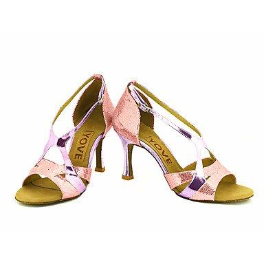 Scarpe da ballo-Personalizzabile-Da donna-Balli latino-americani / Salsa-Tacco su misura-Brillantini-Nero / Blu / Rosa / Rosso / Argento Pink