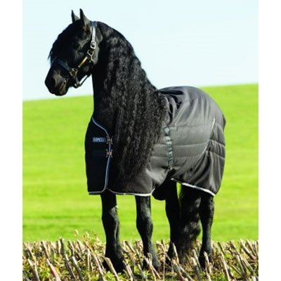 Horseware Rambo Stable Rug medium 200g - Black/Pale Grey&Grey - Stalldecke, Groesse:145