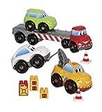 Ecoiffier 3345 Abrick-Set Autotransporter, weis, gelb, rot, grün, grau, orange
