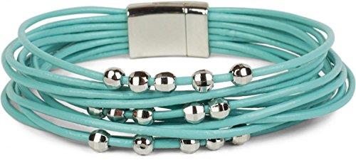 styleBREAKER weiches Armband mit schmalen Bändern und Schmuck Perlen, Magnetverschluss, Damen 05040096, Farbe:Türkis Armband Mit Türkis-perlen