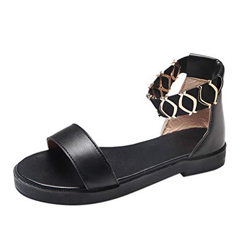 YpingLonk Sandalen für Frauen, Open Toe Sandalen Klassische Absatzschuhe Metallnuten Gummibandschuhe Flatform Kleid Plattform High Heel Chunky -