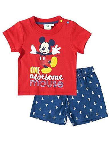 0631418969063 Ensemble Short et T-Shirt bébé garçon Mickey Rouge Marine de 3 à 24mois