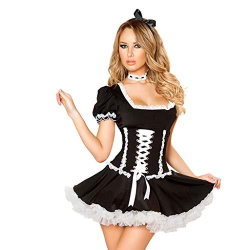 Frauen Kostüm Gruppe Nette - Solike 3 Pcs Nette Frauen Anime Cosplay Französisch Maid Outfit Halloween, Kleid+ Haarbänder+ Choker Schwarz Kostüm Set