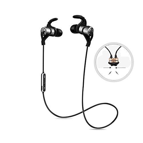 Drahtloser Kopfhörer, SUAVER Bluetooth 4.1 Kopfhörer Stereo Magnetische Ohrhörer, Sweatproof Sport Running Kopfhörer, In-Ear Headset mit eingebautem Mic für Sport Gym (Weltraum grau) (über Den Hals-bluetooth-headset)