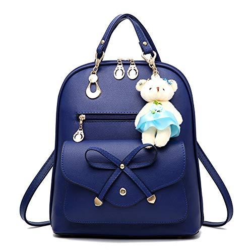 Frauen Kleiner Rucksack Mädchen Damen Schulter Handtasche Für Schule PU Leder Rucksack Taschen Mini Reiserucksack (Schwarz),Blue-onesize