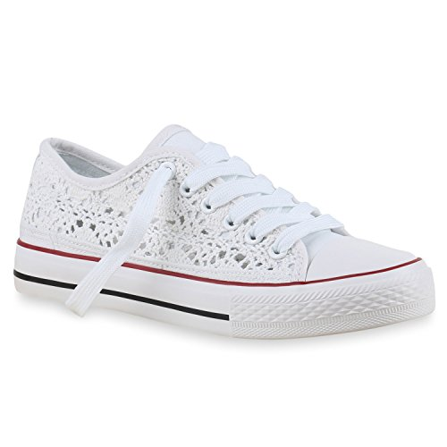Damen Sneakers Spitze | Sneaker Stoffschuhe | Sportschuhe Basic | Freizeit Schuhe Weiß Spitze
