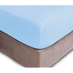 Drap-housse pour matelas jusqu'à 40cm d'épaisseur - 16 Couleurs disponibles, 50 % coton, 50 % polyester, bleu ciel, Simple