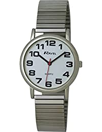 Ravel Easy Read Watch on Expandable Men's Quartz Watch with White Dial Analogue Display and Silver Stainless Steel Plated Bracelet R0208021S