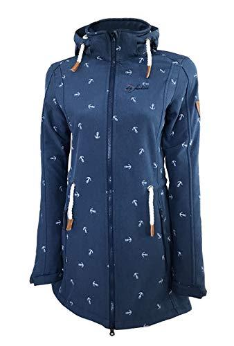 Dry Fashion Damen Softshell Mantel Kampen No2 Fleece gefüttert, Farbe:dunkelblau, Größe:38