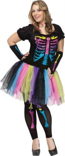 Fun World Funky Punk Bones Women's Costume Plus (Kostüme World Fun Size Plus)
