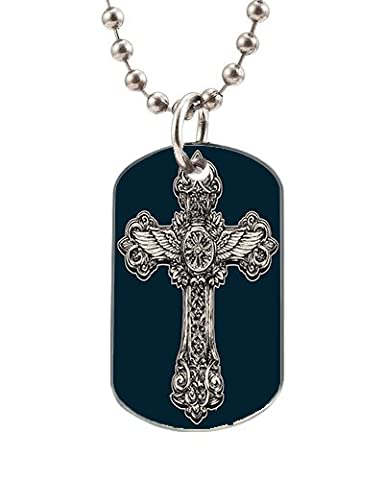 Oval Silver Quality Dog Tags Unique Cross Pendant Necklace Dog Id Tags With Ball Chains For Pets