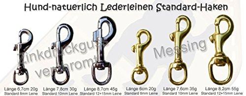 Lederleine Hund 3-fach verstellbar geflochten, braun verchromt Fettleder Führleine (2,40m x 10mm) - 2