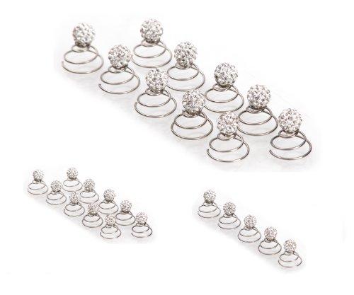 Épingles en spirale ornées de strass - accessoire pour cheveux/coiffure de mariée - de qualité | perle à strass - 10 pièces - cristal