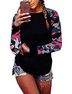 MISSMAO Donna Camicia Maglietta Camicetta Bluse Tunica a Maniche Lunghe Casuale T-Shirt Camuffamento Party Oberteil