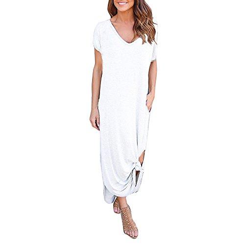 VEMOW Damenmode Tasche Lose Kleid Damen Rundhalsausschnitt beiläufige Tägliche Lange Tops Kleid Plus Größe(Z2-Weiß, EU-48/CN-XL)