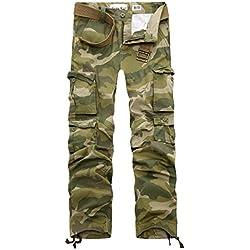 AYG Hombre Pantalón Militar Camuflaje Pantalones(army green camo,36)