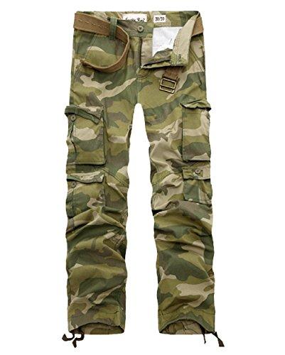 AYG Hombre Pantalón Militar Camuflaje Pantalones(army green camo,34)