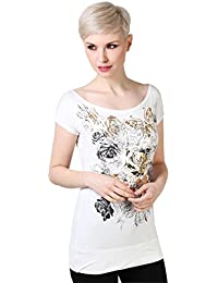KRISP Camiseta Mujer Manga Corta Básica Casual Estampada Escote