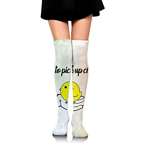 Super 60 Quarter Socken (ouyjian Classic Over Knee High Socks How to Pick Up Chicks Pattern 60cm Thigh High Stockings)
