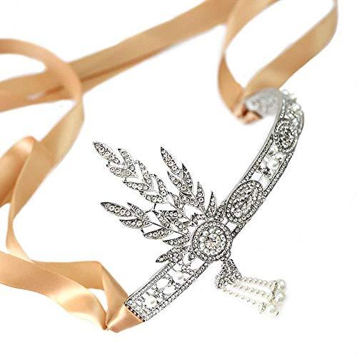 1920er Jahre Flapper Gatsby Zubehör Blatt Perle Stirnband Roaring 20s Hochzeit Kopfschmuck (Stirnband)
