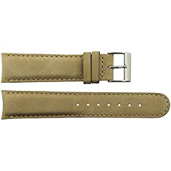 Watch Strap in Brown Calf leather - 22 - - buckle in Silver stainless steel - B22017