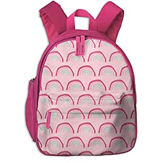 Childrens Backpack for Girls,Pink Rainbow Fabric - Rainbows Pink Magic Nursery Design_5572-charlottewinter,for Children's Schools Oxford Cloth (Pink)