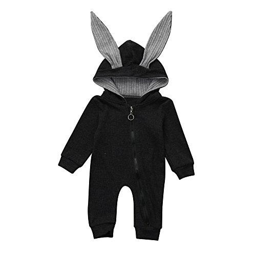 Kinderkleid Honestyi Neugeborenes Baby Mädchen Jungen Kaninchen Ohr warme mit Kapuze Spielanzug Overall Kleidung 3D (Dunkegrau,70)